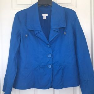 Chico's Blue Fitted Lined Cotton Jacket