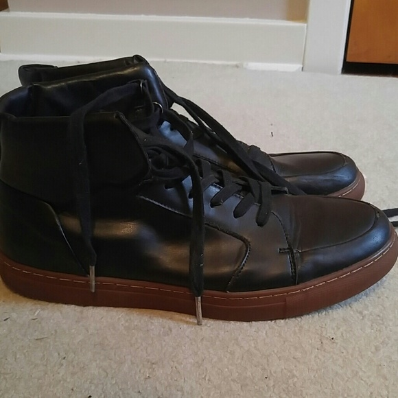 b4cf9ebd945 Black Leather High Top Mens Sneakers Boots Shoes
