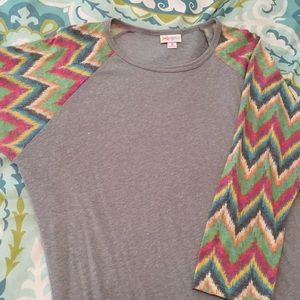 LuLaRoe Randy Medium Gray w/ Chevron Multi Colors
