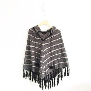 BCBGMaxAzria Striped Hooded Sweater Knit Poncho