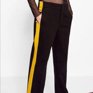 Zara black and yellow tuxedo pants