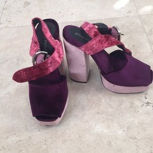 70's burgundy Jeffrey Campbell block pumps