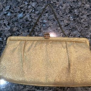 Handbags - Vintage gold clutch or evening bag