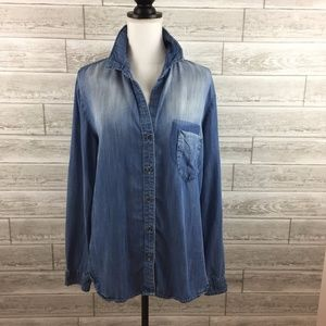 CLOTH & STONE ANTHROPOLOGIE Large Jean Chambray Sh