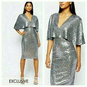 Asos silver sequined cape dress
