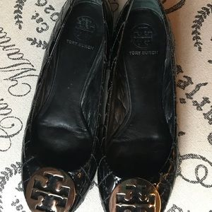 Tory Burch quilted black patent Reva flats