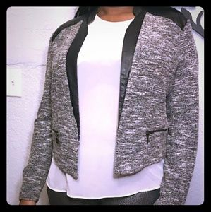 Mossimo Black/White tweed and faux leather jacket