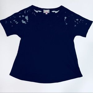 Baraschi Lace cutout t Shirt Top