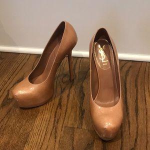 YSL patent leather nude platform heels