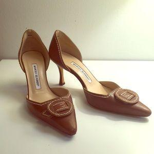 Manolo Blahnik brown leather high heels