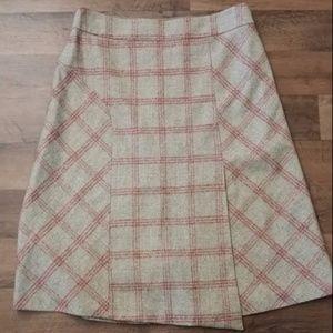 Banana Republic 6 Tweed Plaid Tartan A-Line Skirt