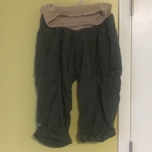 Cropped Cargo Army Green Maternity Pants