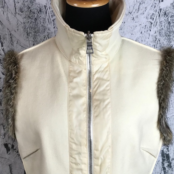 aa40ecdd5158 Prada Jackets & Coats | Womens Fur Trim Apres Ski Cream Vest Sz 48 ...