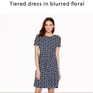 J. Crew Tiered Printed dress in blurred floral 0