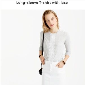 J.Crew Long-Sleeve T-Shirt with Lace