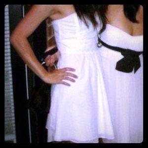 White Summer Strapless Lightweight Ruffle Dress