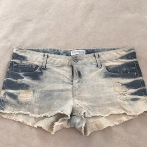 Express White Washed Denim Distressed Jean Shorts