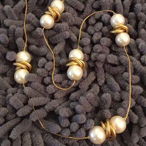 Vintage Long Pearl Matte Gold Ring Necklace