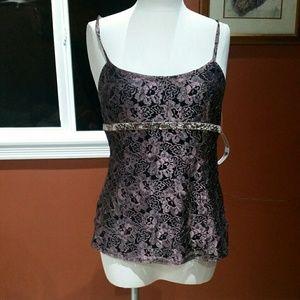 Harve' Bernard purple lace tank blouse