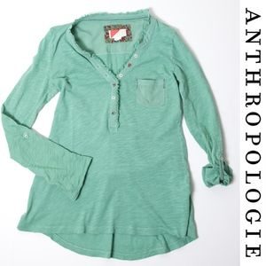 Anthropologie Paper Locket Green Henley XS Top