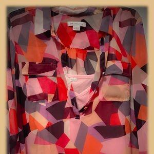 Liz Claiborne Pastel Block Blouse w/ Pink Tank