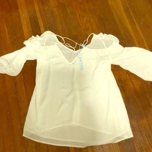 Tops - Sheer cold shoulder blouse