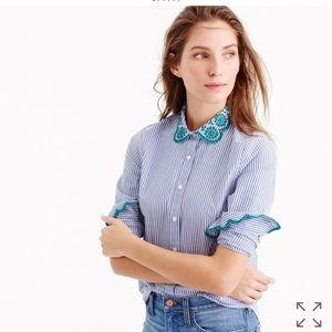 J. Crew striped perfect shirt with eyelet trim