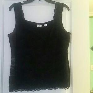 Dressy black lace sleeveless shirt