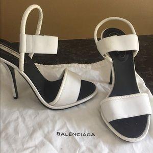 Balenciaga White Snakeskin Heel