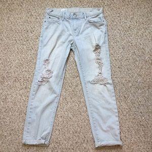 GAP sexy boyfriend light wash jeans.
