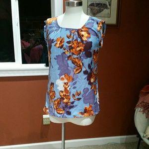 The Limited blue/orange print blouse