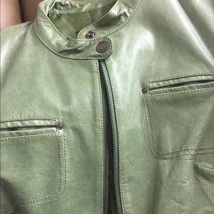 Danier Olive green Moto Leather Jacket. Size M