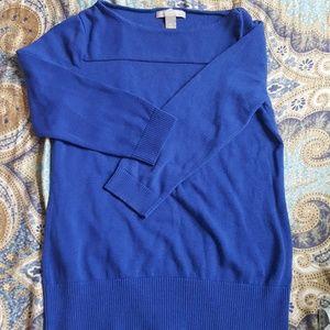 cobalt blue sweater, 3/4 sleeves