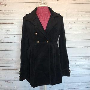 Black Velvet-Like Long Peacoat