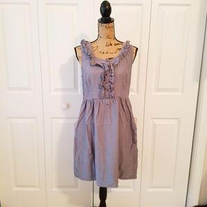 ANTHROPOLOGIE MAEVE gray sleeveless ruffled dress
