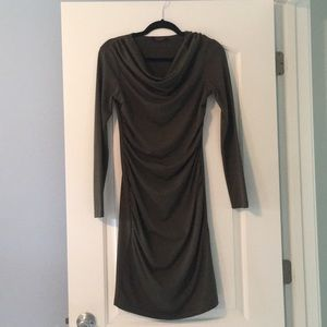 Dark olive green knit dress