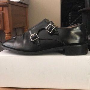Top shop black leather loafer/oxford