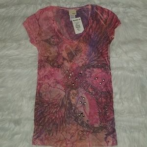 NWT Daytrip Pink Studded Tee / Top
