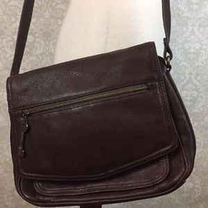 Fossil brown pebbled leather cross body purse