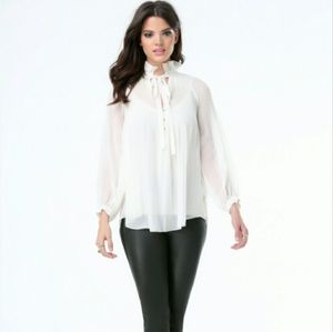 Ivory bebe pleated high neck tie blouses