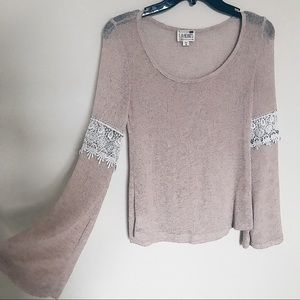 bell sleeves lace taupe long sleeve top