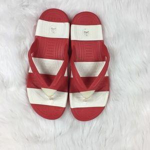 80bc46d36d5 CROCS Shoes - Crocs Beach Line Flip Flops Red   White Stripe