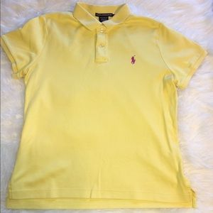 RALPH LAUREN SPORT LARGE YELLOW & PINK POLO SHIRT.