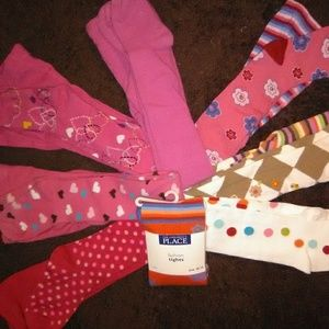 8 PAIR GIRL'S WINTER TIGHTS SIZE 10-12