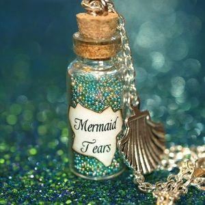 Mermaid Tears Bottle Charm Necklace Gift Ocean ✨
