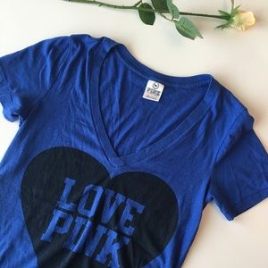 Pink | blue v neck love pink heart  t shirt