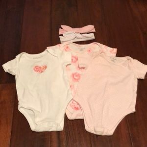 First impressions onesies and bows