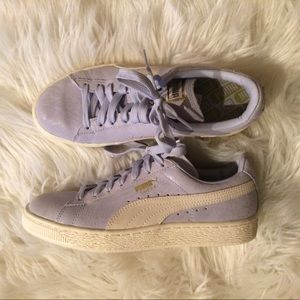 Lavender and White Puma Suede Woman's Shoes