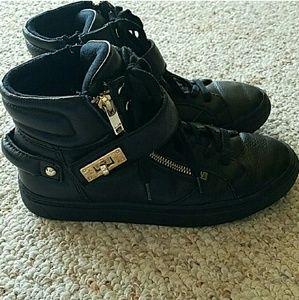 Aldo size 7 black leather tennis shoes booties