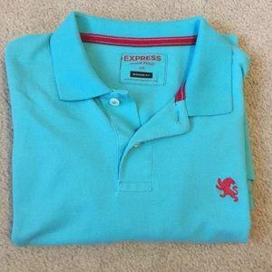 [Express] Teal Modern Fit Pique Polo Shirt Cotton